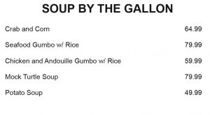 Catering SOUP BY THE GALLON
