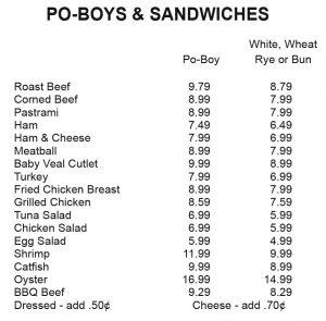 PO-BOYS & SANDWICHES